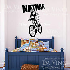 Bicycling Cycling Biking Wall Room Custom Name Vinyl Wall Decal Sticker