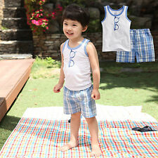"2 pcs Vaenait Baby Toddler Kids Outfits Homewear Sleeveless Top+Shorts ""Glasses"""
