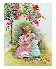 Victorian Girl Doll & Roses Quilt Block Multi Sizes FrEE ShiPPinG WoRld WiDE (C4