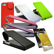 6 COLOUR PU LEATHER FLIP CASE COVER FOR APPLE IPHONE 5 PHONE + SCREEN PROTECTOR