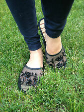 NEW style Black and bamboo Chinese Mesh Slippers / Shoes US Selller