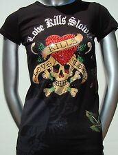 New Ed Hardy Christian Audigier Black Crew Neck Rhinestone Tee