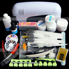 Pro Nail Art UV Gel Kits Tool UV lamp Brush Remover nail tips glue acrylic set