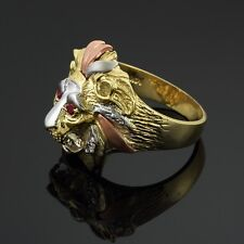 Multi-Tone (White, Yellow, and Rose) Gold Lion Head Men's CZ Ring