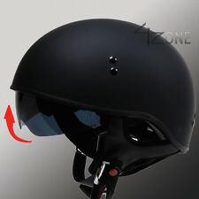 TORC T55 SOLID FLAT BLACK HALF MOTORCYCLE HELMET WITH VISOR DOT APPROVED