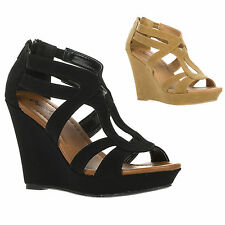 New Qupid Womens High Heel Open Toe Strappy Platform Wedge Sandal LENA-193