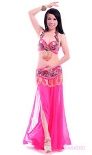 NEW Belly Dance Costume 2 Pics Bra&Belt 34B/C 36B/C 38B/C 8 Colors