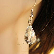Beautiful Pair of Crystal Glass Drop Earrings with 925 Silver Ear Hooks