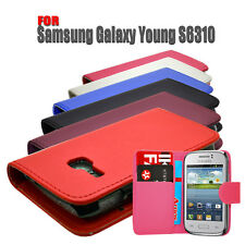 6 COLOUR WALLET BOOK FLIP MOBILE PHONE CASE COVER FOR SAMSUNG GALAXY YOUNG S6310