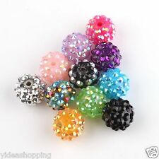 100x Wholesale Mixed Acrylic Resin Rhinestone Spacer Beads 14mm/hole 2mm To Pick