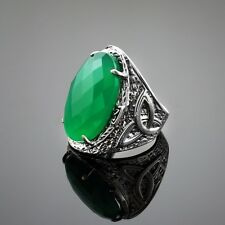 Sterling Silver Green Agate Gemstone Celtic Ring Oxidized Made in USA