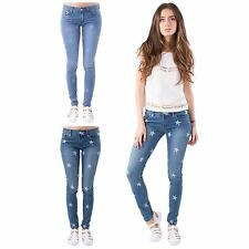 LADIES MID RISE STAR PRINT SUPER SKINNY FIT ANKLE LENGTH SAND WASH DENIM JEANS
