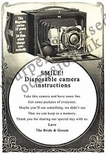 DISPOSABLE CAMERA POEM CARD- WEDDING CAMERA POEM FOR TABLE- A5 or A6