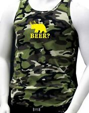 """NW MEN'S PRINTED """"BEER?"""" DEAR BEAR FUNNY DESIGN CAMOUFLAGE PRO-5 ARMY TANK TOP"""