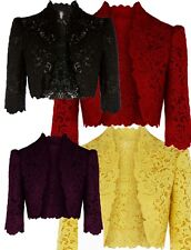 Black Purple Red Yellow Lace Embroidery Bolero Shrug Jacket UK 8 10 12 14 16