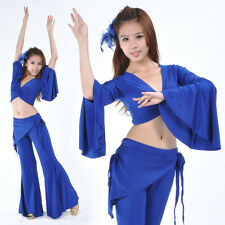 New Belly Dance Costume 2 pcs Speaker Sleeves Blouse Top & Tribal Pants 9 colors