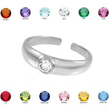 White Gold Birthstone CZ Toe Ring