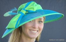 NEW Kentucky Derby Hat Sinamay Straw Two-Tone Honey Purple Fuchsia Turquoise Bow