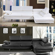 Sectional Sofa Black White Sectional Couch Modern 2 Piece Living room Set CM6553