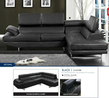 Sectional Sofa 2 Piece Living room Furniture Black Sofa Leather Bonded #CM6553BK