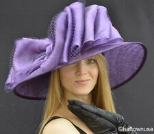 NEW Southern Belle Womens Kentucky Derby Hat Wide Brim Sinamay Straw Coral Pink