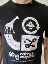 New LRG Mens Black Casual S/S Crew Printed Core Collection Two Tee Shirt Top $26