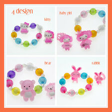 Cartoon Hello Kitty Rabbit Bear Baby Girls Bracelet Ring Set Kids Fashion Gift
