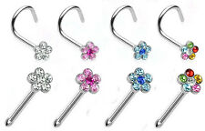 Gorgeous Nose Screw or Straight Stud With Crystal Gem Flower Pick Colour & Size