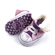 New HELLO KITTY Soft Sole Baby Girl P/Pl Furry High Top Crib Shoes. Age 0-18 Mth