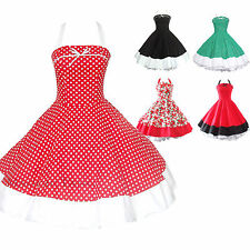 Maggie Tang 50s VTG Floral Polka Dots Rockabilly Pinup Party Swing Dress R-502