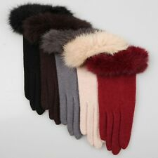 5 color- Women's Stretch knit winter warmer wool rabbit fur trimmed gloves