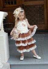 Girls Cream Brown Rosettes Lace Party Dress Feather Sash Flower Pearl Headband