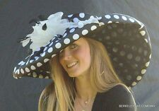 NEW Kentucky Derby Hat WHITTAL & SHON Polka Dot Wide Brim Black White Wide Brim