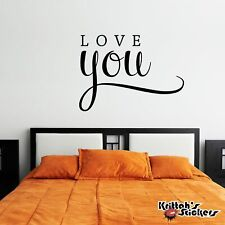 Love You Vinyl Wall Decal Quote home decor word art valentine heart sticker L015