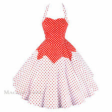 Maggie Tang 50s Polka Dot VTG Retro Pinup Rockabilly Cos Party Swing Dress R-522