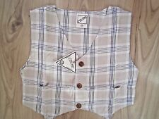 CHILDREN WAISTCOAT/TOP GIRL COOL BOY BEIGE/ BURBERRY CHECK LINEN 1,2,3,4,5 Years