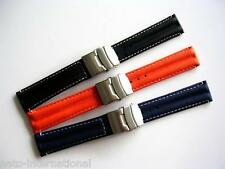 Silicon Rubber Sport racing deploy watch band Diver strap Dbl Lock IW SUISSE USA