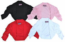 Girls Shrug Bolero Ruche Plain Colours Ages 7-14 Years