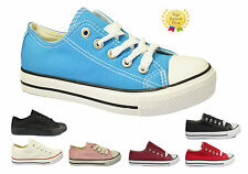 WOMENS LADIES GIRLS FLAT  LACE UP PLIMSOLLS CANVAS PUMPS TRAINERS SHOES SIZE