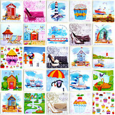 """6"""" x 6"""" small colourful Canvas Picture SEASIDE / NAUTICAL / CUPCAKE / COUNTRY"""