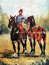 HENRI DE TOULOUSE LAUTREC GROOM WITH TWO HORSES OLD ART PAINTING PRINT