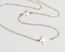 Double Sideways Cross Necklace-Two Crosses, One OFF Center/ Other Centered