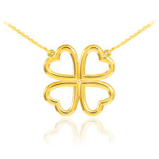 14K Gold Four-Leaf Heart Clover Necklace (Yellow, White, Rose, Two-Tone)