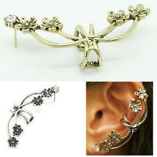 Womens Ladies Punk Gothic Chic Crystal Rhinestone Flower Ear Cuff Earring Hot