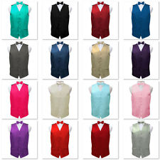 Mens Satin Vest Wedding Groom Formal Waistcoat with Optional Bow Tie Set