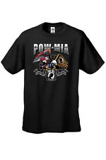 MEN'S POW MIA T-SHIRT All Gave Some BIKER USA FLAG EAGLE BARBED WIRE S-3X 4X 5X