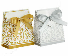 100 X Creative Gold/Silver Ribbon Wedding Favours Party Gift Candy Paper Box Set
