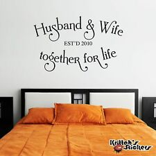Personalized Husband & Wife Together For Life Vinyl Wall Decal home sticker L037