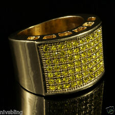 14k Gold Band Micropave Canary Lemonade CZ Mens HipHop Bling Iced Out Pinky Ring