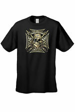 MEN'S BIKER T-SHIRT Loyal To None PIRATE SKULL CHOPPER CROSS SWORDS S-3X 4X 5X